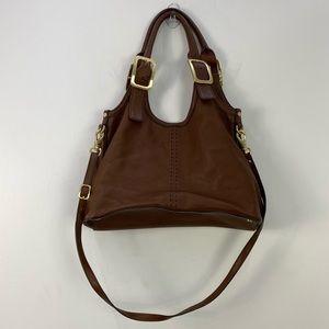 Cole Haan Brown Leather Buckle Crossbody Shoulder Bag